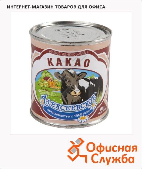Молоко сгущенное Алексеевское 5% 380г, с какао, ж/б