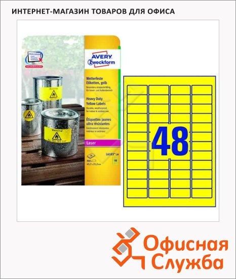 фото: Этикетки всепогодные Avery Zweckform L6103-20 желтые, 45.7x21.2мм, 48шт на листе А4, 20 листов