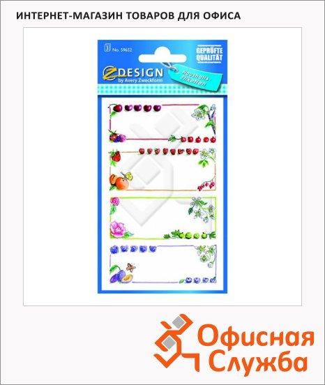 фото: Этикетки самоклеящиеся Avery Zweckform Z-Desing 59652 фрукты, 76х120мм, 4шт на листе, 3 листа