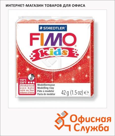 фото: Полимерная глина Fimo Kids блестящая красная 42г
