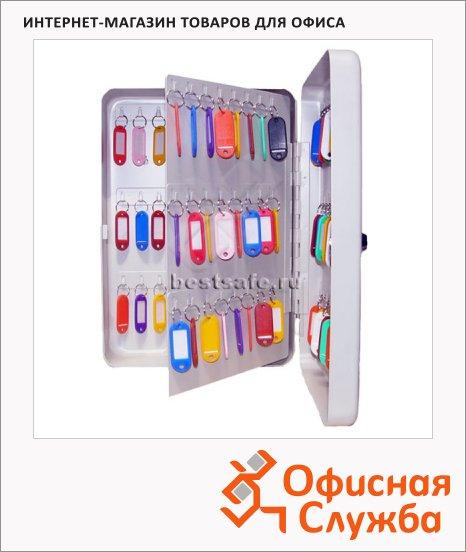 фото: Шкафчик для ключей Shuh Ru KB-50 на 120 ключей ключевой замок, серебристый, 360х250х110мм
