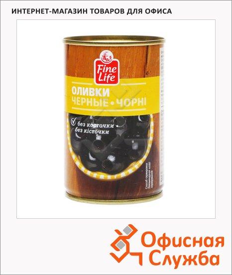 Оливки Fine Life черные без косточек, 300г