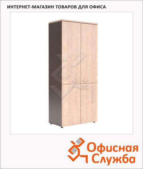 Шкаф Skyland Xten XHC 85.3, 856х452х1955мм, с глухими средними и малыми дверьми, береза норд/рено