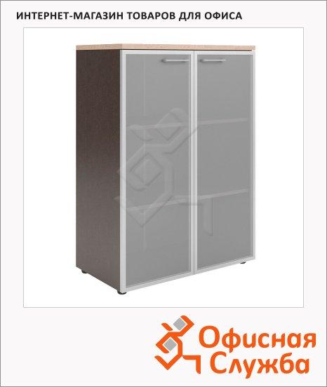 Шкаф Skyland Xten XMC 85.7, 856х452х1190мм, со стеклянными дверьми в алюминиевой рамке, с топом, береза норд/рено
