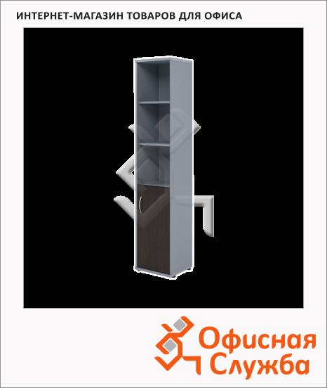 фото: Шкаф-колонка Skyland Imago СУ-1.1 правый, 403х365х1975мм, венге/металлик