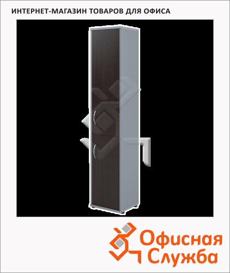 фото: Шкаф-колонка Skyland Imago СУ-1.3 правый, 403х365х1975мм, венге/металлик
