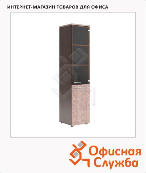 фото: Шкаф-колонка Skyland Xten XHC 42.2 правый, 432х452х1955мм, комбинированный, с топом, дуб сонома/рено