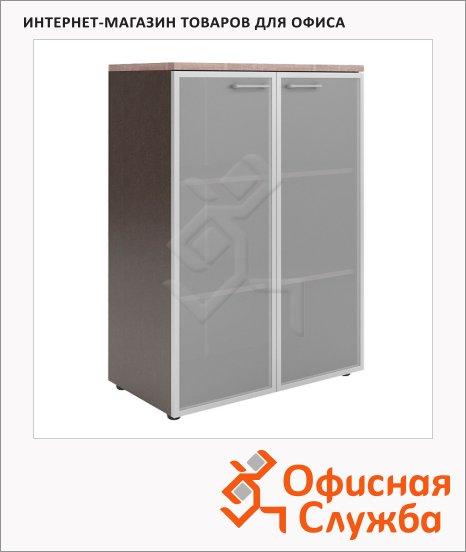 Шкаф Skyland Xten XMC 85.7, 856х452х1190мм, со стеклянными дверьми в алюминиевой рамке, с топом, дуб сонома/рено