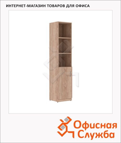 Шкаф-колонка Skyland Simple SR-5U.5, левый, 386х375х1815мм, с глухой малой дверью, дуб сонома светлый