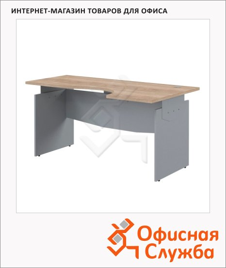 Стол письменный Skyland Offix NEW OCET 149, эргономичный, правый, 1400x860x750мм, дуб сонома светлый/металлик