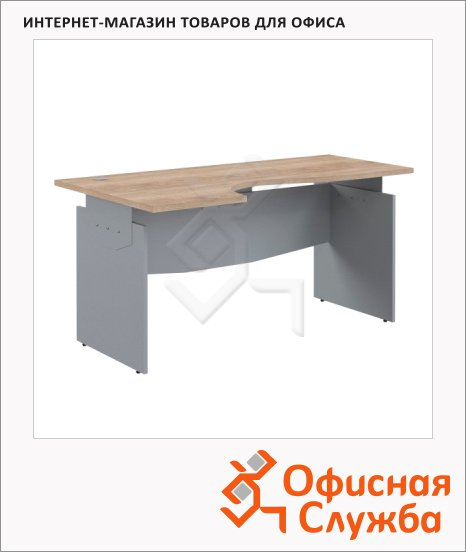 Стол письменный Skyland Offix NEW OCET 169, эргономичный, левый, 1600x860x750мм, дуб сонома светлый/металлик