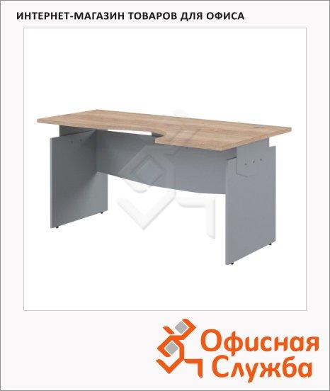 Стол письменный Skyland Offix NEW OCET 169, эргономичный, правый, 1600x860x750мм, дуб сонома светлый/металлик