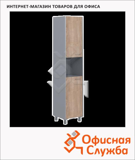 фото: Шкаф-колонка Skyland Offix NEW OHC 45.4 дуб сонома светлый/металлик, 456x450x2147мм, с двумя глухими малыми дверями