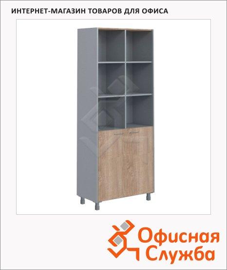 Шкаф Skyland Offix NEW OHC 87.5, 874х450х2147мм, с комплектом малых глухих дверей, дуб сонома светлый/металлик