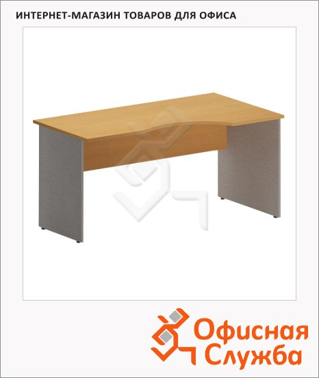 Стол письменный Skyland Imago СА-1, эргономичный, правый, клен/металлик, 1600х900х755мм