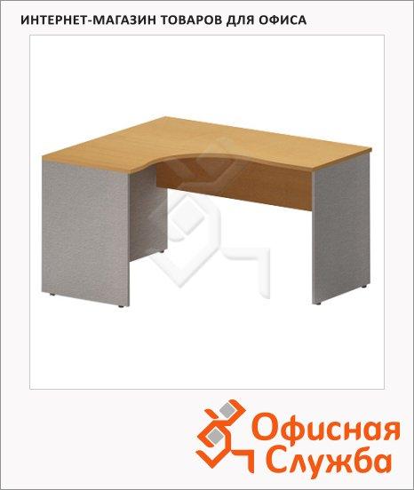 Стол письменный Skyland Imago СА-4, эргономичный, левый, клен/металлик, 1600х1200х755мм