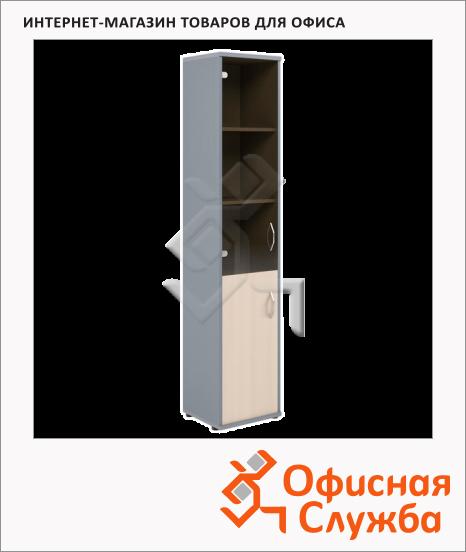 фото: Шкаф-колонка Skyland Imago СУ-1.2 левый, 403х365х1975мм, клен/металлик