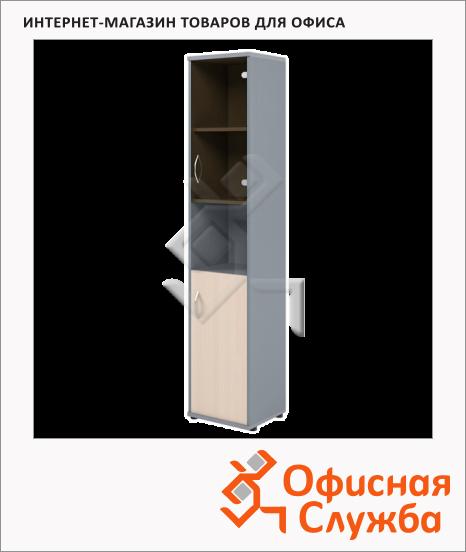 фото: Шкаф-колонка Skyland Imago СУ-1.4 правый, 403х365х1975мм, клен/металлик