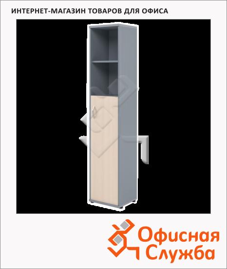 фото: Шкаф-колонка Skyland Imago СУ-1.6 правый, 403х365х1975мм, клен/металлик