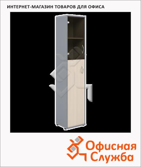 фото: Шкаф-колонка Skyland Imago СУ-1.7 правый, 403х365х1975мм, клен/металлик