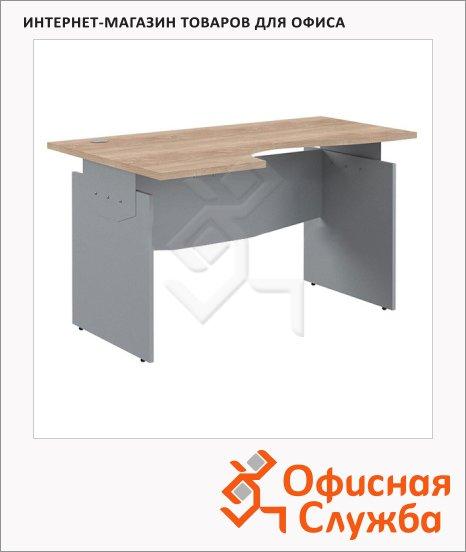 Стол письменный Skyland Offix 1/X04, эргономичный, левый, 1400x1000x760мм, клён/металлик