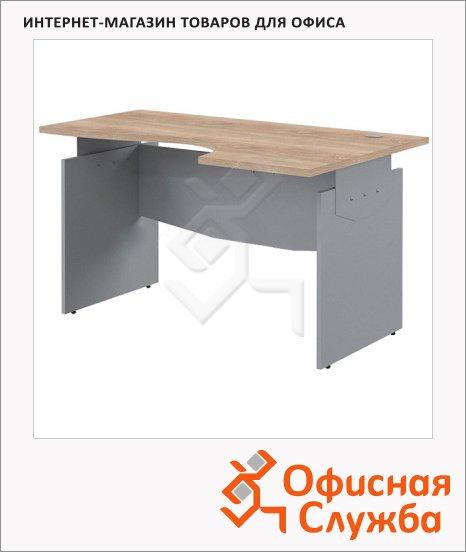 Стол письменный Skyland Offix 1/X05, эргономичный, правый, 1600x1000x760мм, клён/металлик