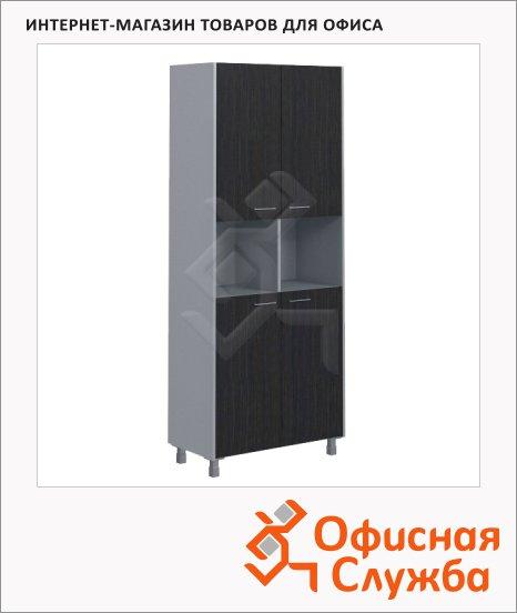 Шкаф Skyland Offix NEW OHC 87.4, 874х450х2147мм, с двумя комплектами малых глухих дверей, легно темный/металлик