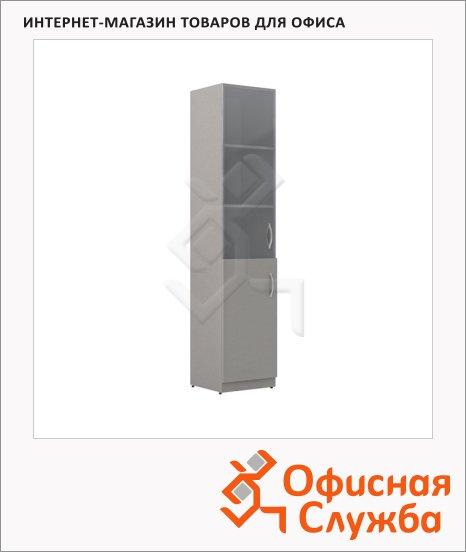 Шкаф-колонка Skyland Simple SR-5U.2, левый, 386х375х1815мм, комбинированый, серый