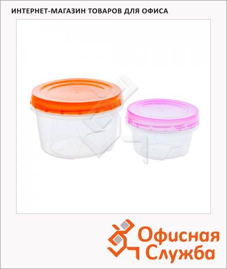 Набор контейнеров Полимербыт 0.7л+0.3л, пластик, с закручивающейся крышкой, 2шт/уп