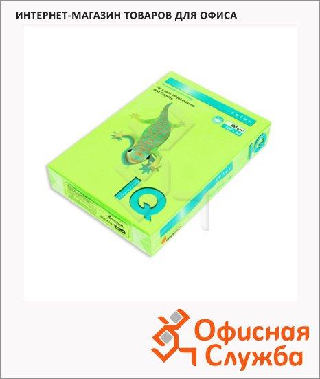 Цветная бумага для принтера Iq Color зеленый неон, А4, 500 листов, 80г/м2, NEOGN