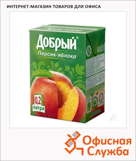 Сок Добрый персик-яблоко, 0.2л х 6шт