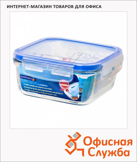Контейнер герметичный Luminarc Purebox 0.76л, стекло, крышка с клапаном