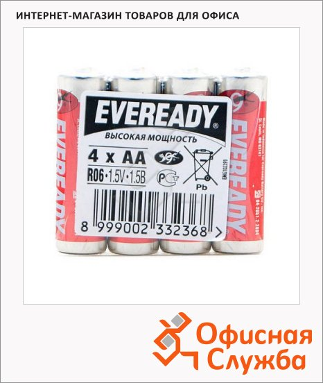фото: Батарейка Energizer Eveready Heavy Duty АА/R06 1.5В, солевая, 4шт/уп