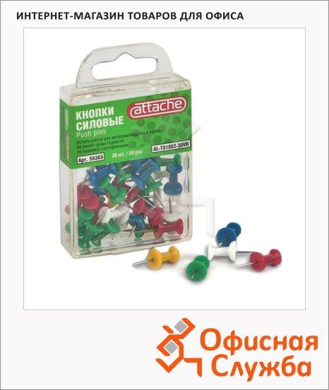 фото: Кнопки для пробковых досок Attache цветные 30шт/уп, гвоздики