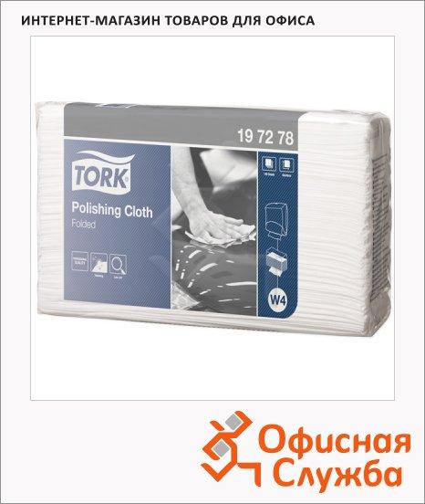 Протирочные салфетки Tork нетканые W4, 197278, листовые, для полировки, 140шт, 1 слой, белые
