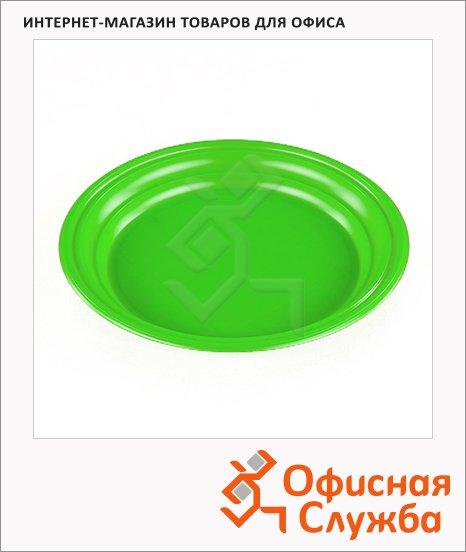 Тарелка одноразовая Стиролпласт зеленая, d=16.5см, 100шт/уп