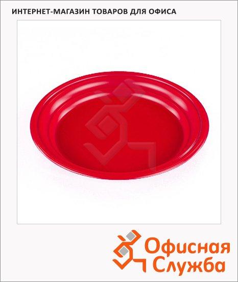 Тарелка одноразовая Стиролпласт красная