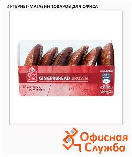 фото: Пряники Fine Life Gingerbread имбирные с шоколадной начинкой пачка, 200г, картон