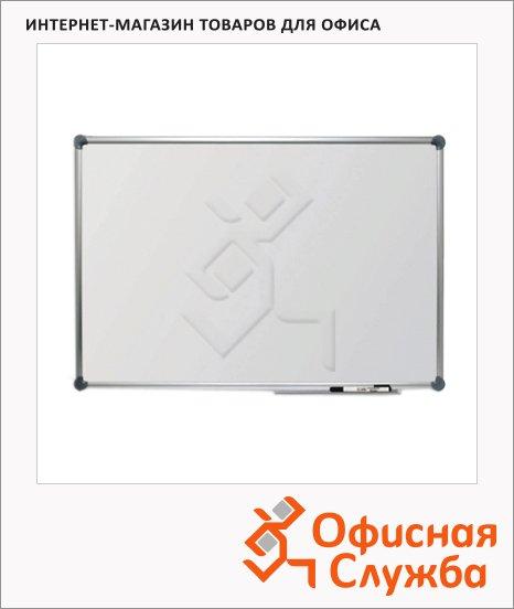фото: Доска магнитная маркерная Hebel Econom 6282084 45х60см белая, лаковая, алюминиевая рама, полочка