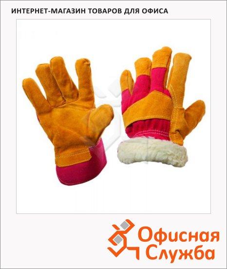 фото: Перчатки трикотажные безразмерные 1 пара оранжевый/красный, комбинированный спилок, утепленные, манжет-крага