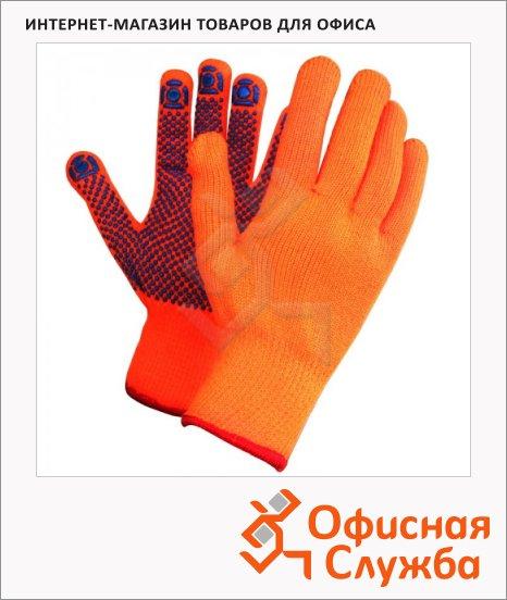фото: Перчатки защитные безразмерные 1 пара оранжевые, акрил/ПВХ покрытие, для работы при низких температурах