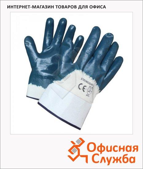 фото: Перчатки защитные безразмерные 1 пара белый/синий, х/б, полное нитриловое покрытие, манжет-крага