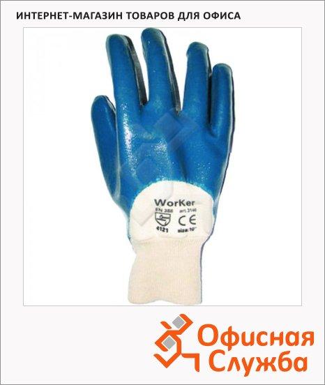 фото: Перчатки защитные безразмерные 1 пара белый/синий, х/б, неполное нитриловое покрытие, манжет-резинка