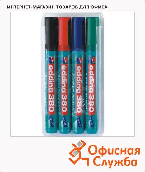 Маркер для флипчарта Edding 380 набор 4 цвета, 1.5-3мм, круглый наконечник, cap off