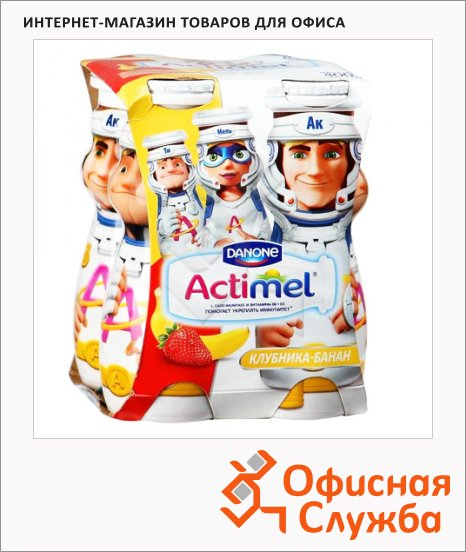 фото: Кисломолочный напиток Actimel Kids клубника-банан 2.5%, 100г х 4шт