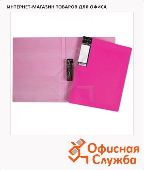 фото: Пластиковая папка с зажимом Hatber HD неоново-розовая А4