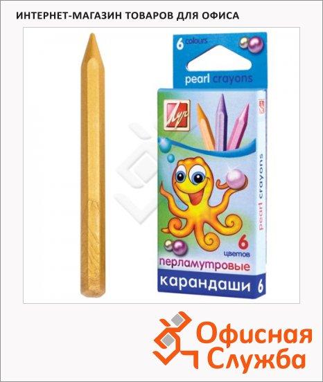 фото: Набор восковых карандашей Луч Перламутрики 6 цветов шестигранные