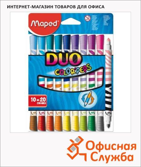 Фломастеры Maped Color'peps Duo 20 цветов, двухсторонние, смываемые