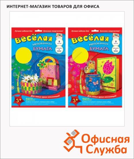 фото: Цветная бумага Апплика 9 цветов А4, 9 листов, двухсторонняя, мелованная, с рисунком