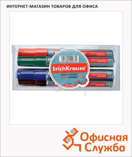 фото: Маркер для досок Erich Krause W500 набор 4 цвета 0.8-2.2мм, пулевидный наконечник, с губкой